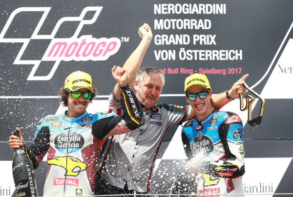 2017 Moto2 Championship - Round 11 Spielberg, Austria Sunday 13 August 2017 Podium: Alex Marquez, Marc VDS, Mortbidelli and Franco Morbidelli, Marc VDS World Copyright: Gold and Goose / LAT Images ref: Digital Image 686850