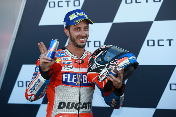 2017 MotoGP Championship - Round 12 Silverstone, Northamptonshire, UK. Sunday 27 August 2017 Podium: race winner Andrea Dovizioso, Ducati Team World Copyright: Gold and Goose / LAT Images ref: Digital Image 1053