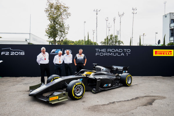 Autodromo Nazionale di Monza, Monza, Italy. Thursday 31 August 2017. The new F2 car is unveiled in the paddock. Photo: Zak Mauger/FIA Formula 2. ref: Digital Image _56I5243