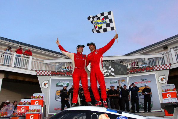 10-11 August, 2012, Watkins Glen, New York USARyan Dalziel, left and Lucas Luhr celebrate in victory lane.(c)2012, R D. EthanLAT Photo USA