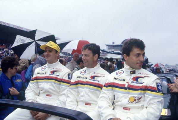 1992 Le Mans 24 Hours. Le Mans, France. 20th - 21st June 1992. Mark Blundell/Derek Warwick/Yannick Dalmas (Peugeot 905 Evo 1) 1st position, portrait. World Copyright: LAT Photographic. Ref: 92LM02