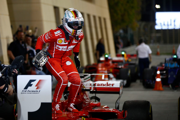 Bahrain International Circuit, Sakhir, Bahrain.  Sunday 16 April 2017. Sebastian Vettel, Ferrari, 1st Position, celebrates upon arrival in Parc Ferme. World Copyright: Andrew Hone/LAT Images ref: Digital Image _ONY8431