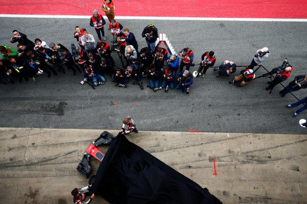 Circuit de Barcelona Catalunya, Barcelona, Spain. Monday 27 February 2017. Kevin Magnussen, Haas, and Romain Grosjean, Haas F1, unveil the Haas VF-17 Ferrari in front of assembled media. World Copyright: Zak Mauger/LAT Images ref: Digital Image _L0U9638