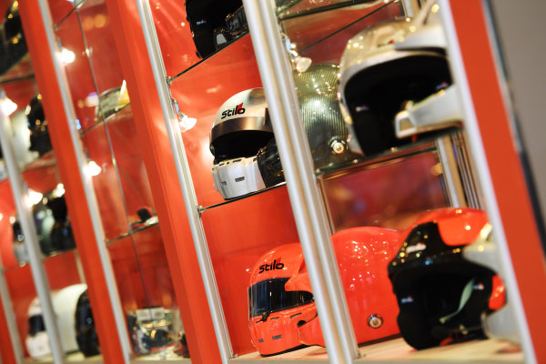 Autosport International Exhibition. National Exhibition Centre, Birmingham, UK. Sunday 15 January 2017. Stilo helmets. World Copyright: Sam Bagnall/LAT Images Ref: DSC_5774