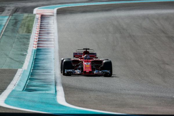 Yas Marina Circuit, Abu Dhabi, United Arab Emirates. Wednesday 29 November 2017. Sebastian Vettel, Ferrari SF70H. World Copyright: Joe Portlock/LAT Images  ref: Digital Image _L5R8936