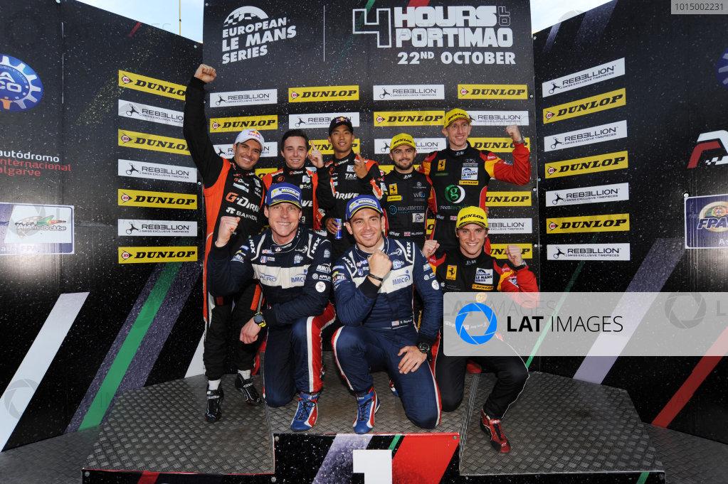 2017 European Le Mans Series, Portimao, Potugal. 20th-22nd October 2017 Champions Podium, #22 Memo Rojas (MEX) / Ryo Hirakawa (JPN) / Leo Roussel (FRA) G-Drive Racing Oreca 07 - Gibson, #66 Robert Smith (GBR) / Jody Fannin (GBR) / William Stevens (GBR) JMW Motorsport Ferrari F488 GTE and #2 John Falb (USA) / Sean Rayhall (USA) United Autosports Ligier JS P3 - Nissan World copyright. JEP/LAT Images