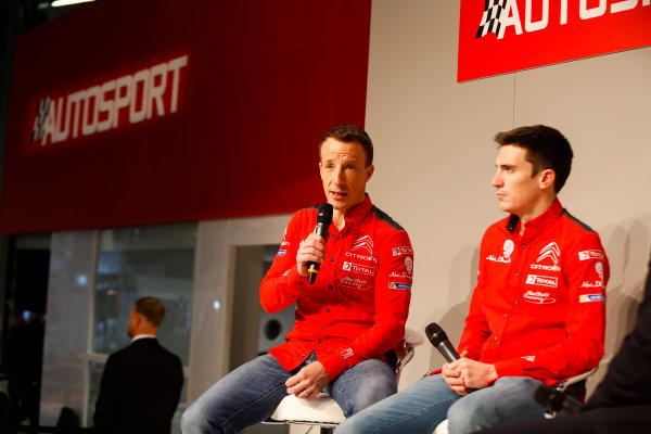 Autosport International Exhibition. National Exhibition Centre, Birmingham, UK. Friday 12th January 2018. Kris Meeke and Craig Breen of Citroen talk to Henry Hope-Frost on the Autosport Stage. World Copyright: Joe Portlock/LAT Images Ref: _U9I0405