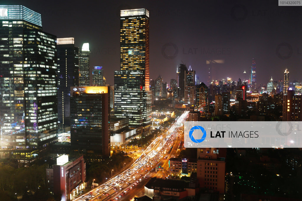 Shanghai International Circuit, Shanghai, China. Wednesday 8 April 2015. A view over Shanghai at night. World Copyright: Steven Tee/LAT Photographic. ref: Digital Image _X0W4423