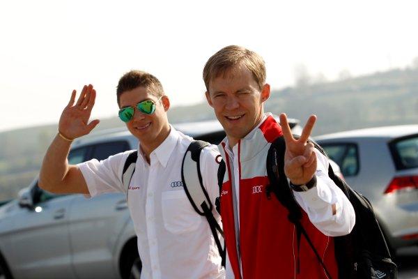 2014 DTM Testing. Hungaroring, Hungary. 31st March 2014. Edoardo Mortara (ITA) Audi Sport Team Abt Audi RS 5 DTM and Mattias Ekstroem (SWE), Audi Sport Team Abt Sportsline, Audi A5 DTM World Copyright: XPB / LAT Photographic. Ref: 3030944_HiRes.jpg