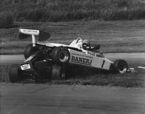 Oulton Park, England. 6th August 1983 Ayrton Senna (Ralt RT3-Toyota), retired and Martin Brundle (Ralt RT3-Toyota), retired, after crashing together, action.  World Copyright: LAT Photographic. Ref:  B/W Print.