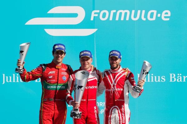 2016/2017 FIA Formula E Championship. Round 7 - Berlin ePrix, Tempelhof Airport, Berlin, Germany. Saturday 10 June 2017.Lucas Di Grassi (BRA), ABT Schaeffler Audi Sport, Spark-Abt Sportsline, ABT Schaeffler FE02, Felix Rosenqvist (SWE), Mahindra Racing, Spark-Mahindra, Mahindra M3ELECTRO, and Nick Heidfeld (GER), Mahindra Racing, Spark-Mahindra, Mahindra M3ELECTRO, on the podium. Photo: Zak Mauger/LAT/Formula E ref: Digital Image _54I7682