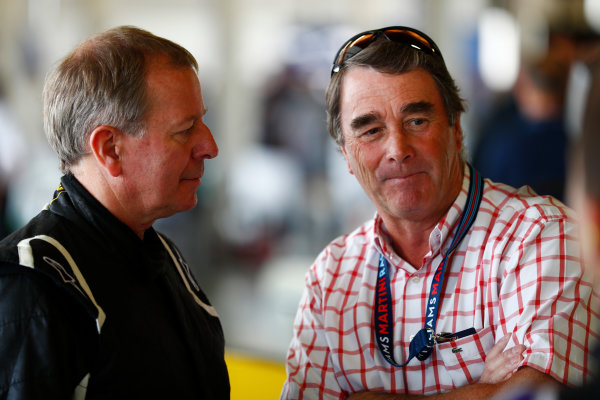 Williams 40 Event Silverstone, Northants, UK Friday 2 June 2017. Martin Brundle and Nigel Mansell. World Copyright: Sam Bloxham/LAT Images ref: Digital Image _J6I6558