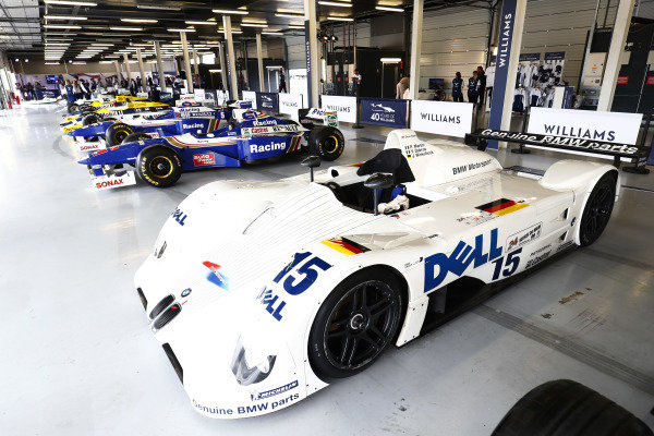Williams 40 Event Silverstone, Northants, UK Friday 2 June 2017. The BMW V12 LMR 1999 Le Mans winner and assorted classic Williams F1 cars. World Copyright: Sam Bloxham/LAT Images ref: Digital Image _W6I6691