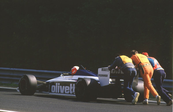 Spa-Francorchamps, Belgium.2 June 1985.Marc Surer (Brabham BT54 BMW) is pushed by marshals. The race was cancelled after practice when the newly-laid track broke up.World Copyright - LAT Photographic