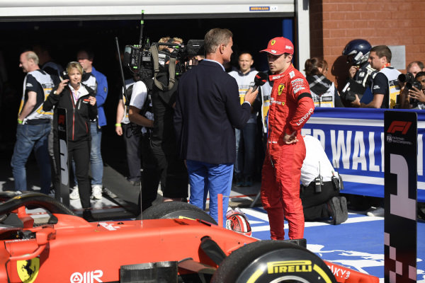Charles Leclerc, Ferrari, 1st position, is interviewed by Presenter David Coulthard after the race