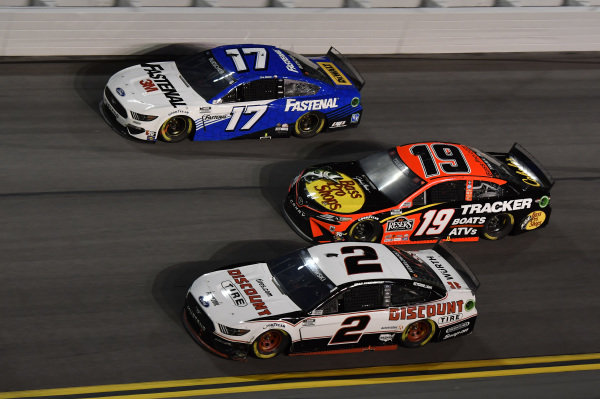 #2: Brad Keselowski, Team Penske, Ford Mustang Discount Tire #19: Martin Truex Jr., Joe Gibbs Racing, Toyota Camry #17: Chris Buescher, Roush Fenway Racing, Ford Mustang Fastenal