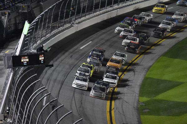 #99: Ben Rhodes, ThorSport Racing, Toyota Tundra Bombardier LearJet 75 and #2: Sheldon Creed, GMS Racing, Chevrolet Silverado restart.