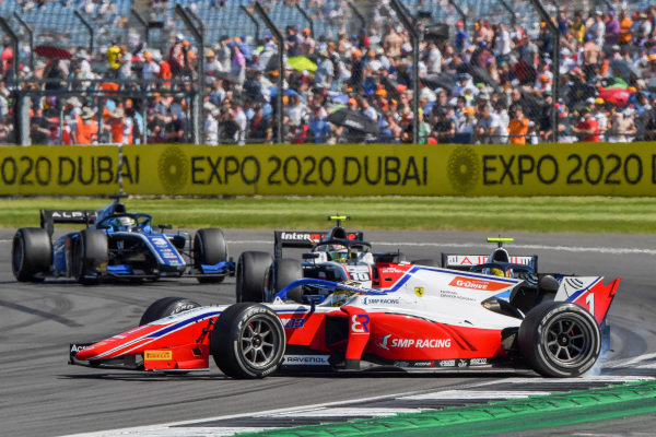 Robert Shwartzman (RUS, Prema Racing), spins ahead of Theo Pourchaire (FRA, ART Grand Prix), and Guanyu Zhou (CHN, Uni-Virtuosi Racing)