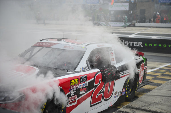 #20: Christopher Bell, Joe Gibbs Racing, Toyota Supra Rheem celebrates with a burnout