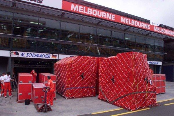 2000 Australian Grand Prix.Albert Park, Melbourne, Australia.10-12 March 2000.Ferrari packing crates at the Australian Grand Prix.World Copyright - LAT Photographic