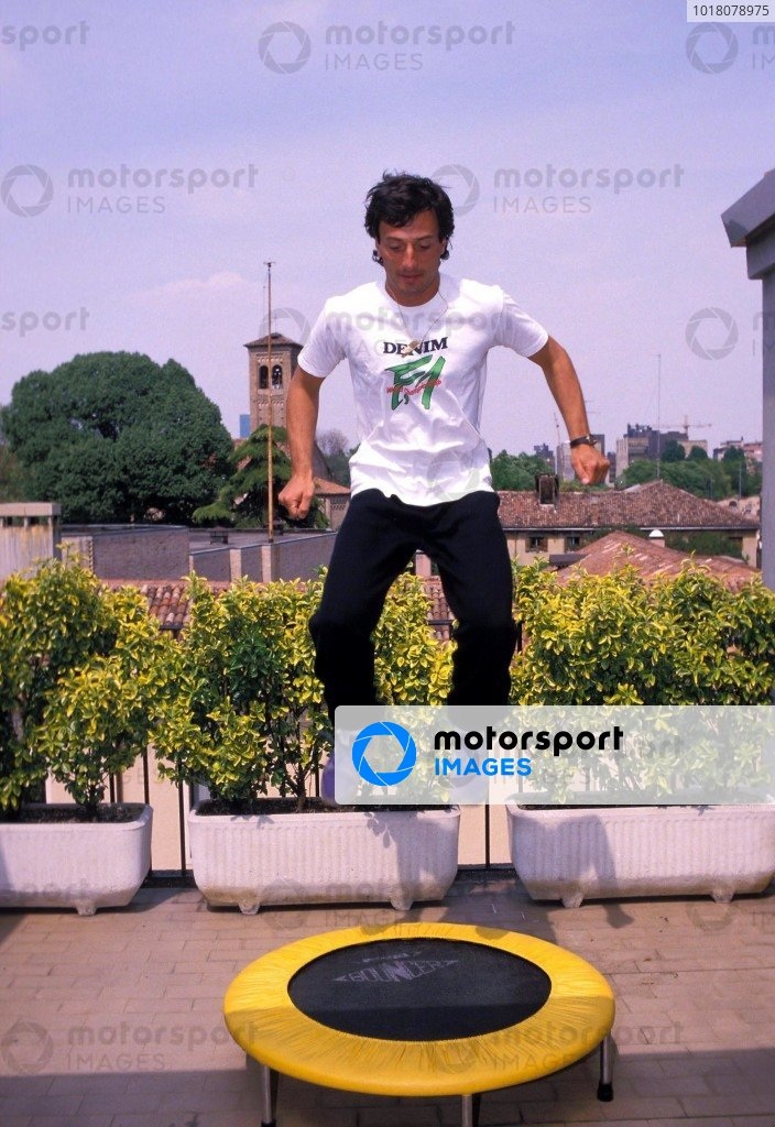Padova, Italy. Riccardo Patrese jumps on a trampoline