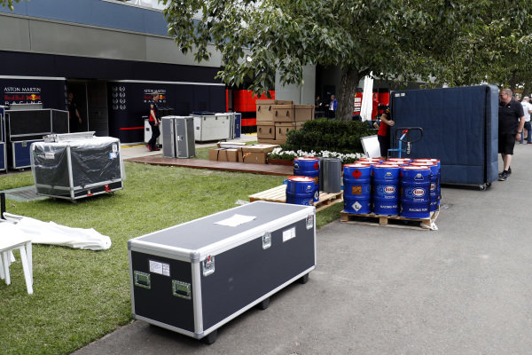 Equipment is packed away outside the Red Bull garage