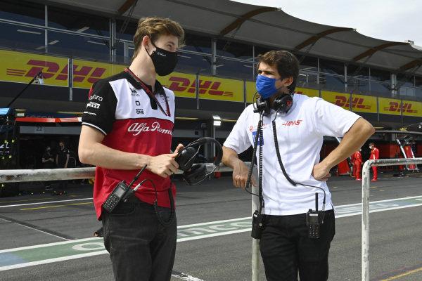 Callum Ilott, Test and Reserve Driver, Alfa Romeo Racing, and Pietro Fittipaldi, reserve driver, Haas F1