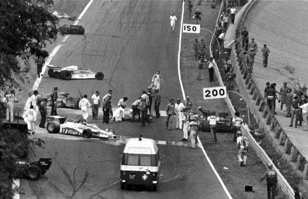 1978 Italian Grand Prix.Monza, Italy.8-10 September 1978.The scene after the first lap multiple accident which claimed the life of Ronnie Peterson (Lotus 78-Ford).World Copyright - LAT Photographic