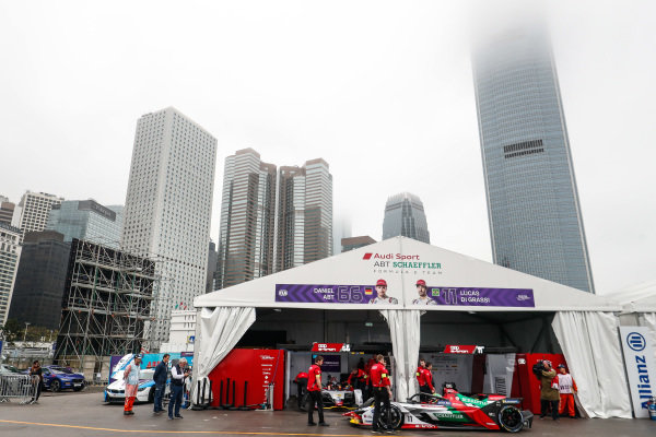 Lucas Di Grassi (BRA), Audi Sport ABT Schaeffler, Audi e-tron FE05 sits outside the Audi garage in the pit lane