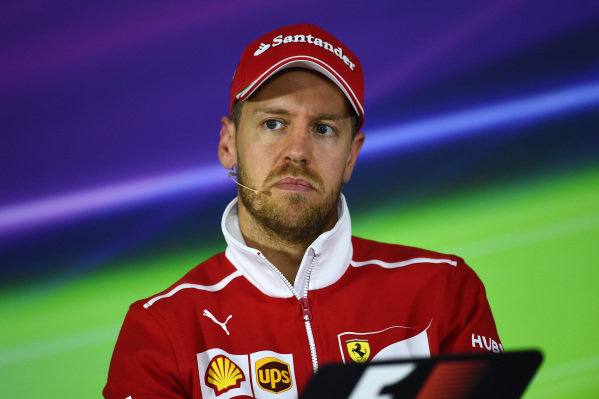 Sebastian Vettel (GER) Ferrari in the Press Conference at Formula One World Championship, Rd2, Chinese Grand Prix, Preparations, Shanghai, China, Thursday 6 April 2017.