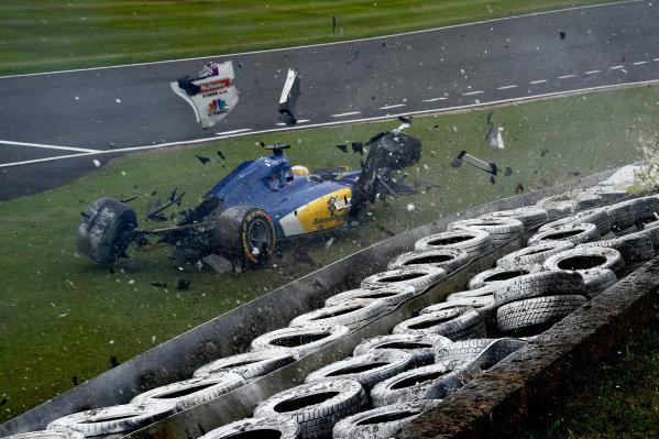 Marcus Ericsson (SWE) Sauber C35 crashes in FP3 at Formula One World Championship, Rd10, British Grand Prix, Qualifying, Silverstone, England, Saturday 9 July 2016. BEST IMAGE