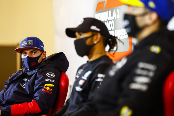 Max Verstappen, Red Bull Racing, Race Winner Lewis Hamilton, Mercedes-AMG Petronas F1 and Daniel Ricciardo, Renault F1 in the press conference