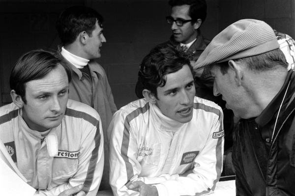 L to R: Pole sitter but retiree Chris Amon (NZL); third place finisher Jacky Ickx (BEL) talks with Matra team manager Ken Tyrrell as Mike Parkes (GBR) Ferrari and Mauro Forghieri (ITA) Ferrari engine designer. Belgian Grand Prix, Spa-Francorchamps, June 9 1968.
