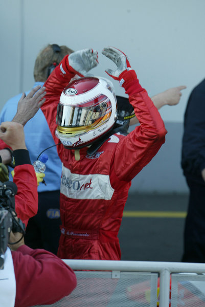 2004 Formula 3000 Championship (F3000) Nurburgring, Germany.29th May 2004. Enrico Toccacelo (BCN F3000) celebrates his first win of the season in parc ferme.World Copyright: LAT Photographic ref: Digital Image Only