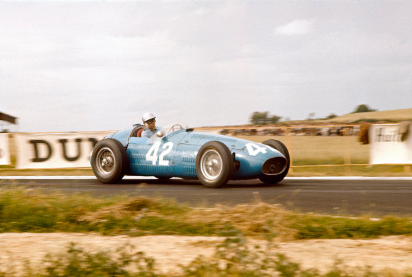 1956 French Grand Prix.Reims, France.29/6-1/7 1956.Andre Simon (Maserati 250F).Ref-56 FRA 09.World Copyright - LAT Photographic