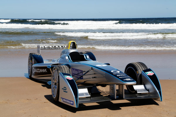 FIA Formula E Test Day. Formula E Car on the beach. Punta Del Este, Uruguay, South America. Formula E Third Race Event, 11th - 14th December 2014. Sunday 14 December 2014.  Photo: Adam Warner/LAT/FE ref: Digital Image _L5R5186