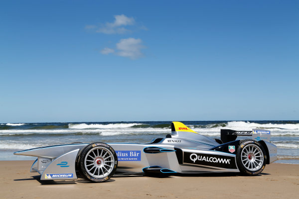 FIA Formula E Test Day. Formula E Car on the beach. Punta Del Este, Uruguay, South America. Formula E Third Race Event, 11th - 14th December 2014. Sunday 14 December 2014.  Photo: Adam Warner/LAT/FE ref: Digital Image _L5R5065