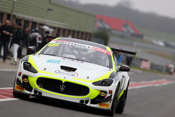 2016 British GT Championship, Media Day, Snetterton, 15 March 2016. Abbie Eaton / Marcus Hoggarth Ebor GT Maserati GranTurismo MC  World copyright. Ebrey/LAT Photographic
