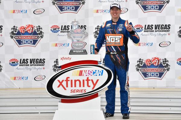 4-5 March, 2016, Las Vegas, Nevada USA Kyle Busch, NOS Energy Drink Toyota Camry (18) celebrates after winning the Boyd Gaming 300 at Las Vegas Motor Speedway. ©2016, John Harrelson / LAT Photo USA