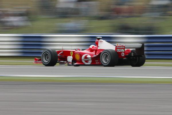 2004 British Grand Prix - Friday Practice,Silverstone, Britain. 09th July 2004 Rubens Barrichello, Ferrari F2004, action.World Copyright: Steve Etherington/LAT Photographic ref: Digital Image Only