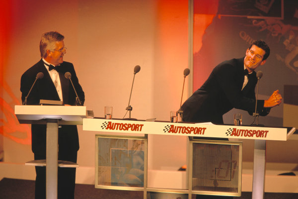 2003 Autosport AwardsGrosvenor Hotel, London, EnglandCompere Steve Rider watches as Australian Mark Webber does a great impression of England Rugby player jonny Wilkinson.World Copyright: Bellanca/LATref: 35mm Transparency (30mb scan)
