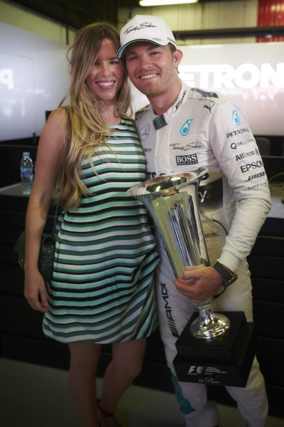 Circuit de Catalunya, Barcelona, Spain. Sunday 10 May 2015. Nico Rosberg, Mercedes AMG, 1st Position, celebrates with his wife Vivian Sibold. World Copyright: Steve Etherington/LAT Photographic. ref: Digital Image SNE10484