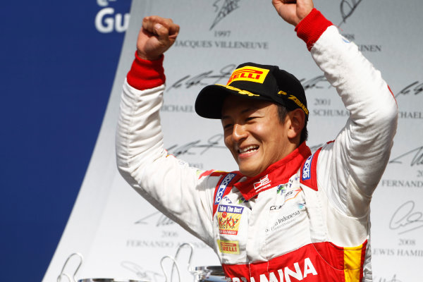 2015 GP2 Series Round 1 - Bahrain International Circuit, Bahrain. Sunday 19 April 2015. Rio Haryanto (INA, Campos Racing)  Photo: Sam Bloxham/GP2 Series Media Service. ref: Digital Image _G7C8892