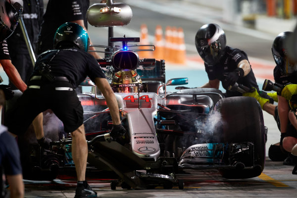 Yas Marina Circuit, Abu Dhabi, United Arab Emirates. Friday 24 November 2017. Lewis Hamilton, Mercedes F1 W08 EQ Power+, makes a pit stop during practice. World Copyright: Steve Etherington/LAT Images  ref: Digital Image SNE10742
