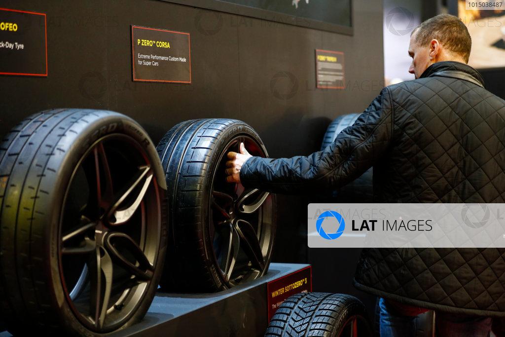 Autosport International Exhibition. National Exhibition Centre, Birmingham, UK. Sunday 14th January 2018. The Pirelli stand.World Copyright: Ashleigh Hartwell/LAT Images Ref: _R3I9708