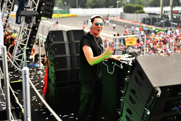 Dutch DJ ad record producer Tiesto performs a set after the podium ceremony