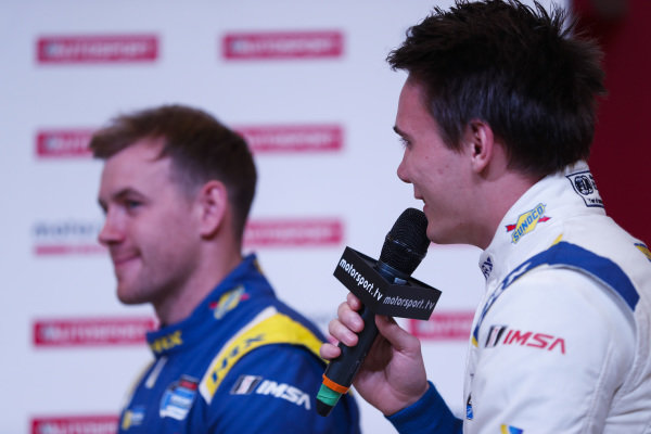 An Anglo American Racing Fuels, Sunoco, announcement with Linus Lundqvist on the Autosport Stage.
