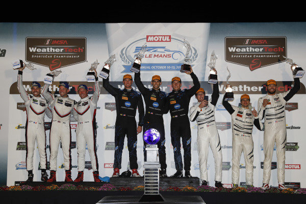 #911 Porsche Team North America Porsche 911 RSR, GTLM: Patrick Pilet, Nick Tandy, Frederic Makowiecki, #10 Wayne Taylor Racing Cadillac DPi, P: Renger van der Zande, Jordan Taylor, Ryan Hunter-Reay, #63 Scuderia Corsa Ferrari 488 GT3, GTD: Cooper MacNeil, Gunnar Jeannette, Daniel Serra, podium