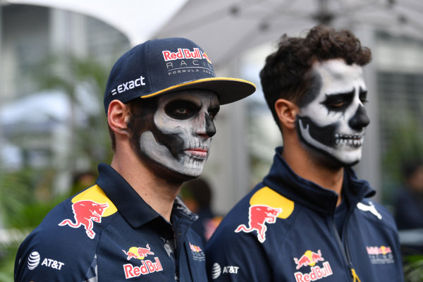 Max Verstappen (NED) Red Bull Racing and Daniel Ricciardo (AUS) Red Bull Racing with Day of the Dead face paint at Formula One World Championship, Rd19, Mexican Grand Prix, Preparations, Circuit Hermanos Rodriguez, Mexico City, Mexico, Thursday 27 October 2016.