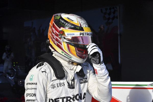 Lewis Hamilton (GBR) Mercedes AMG F1 in parc ferme at Formula One World Championship, Rd1, Australian Grand Prix, Race, Albert Park, Melbourne, Australia, Sunday 26 March 2017.